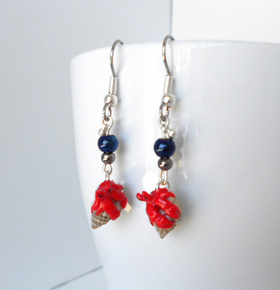 fanART- Hermit Crab earrings* -gifts for women and teens